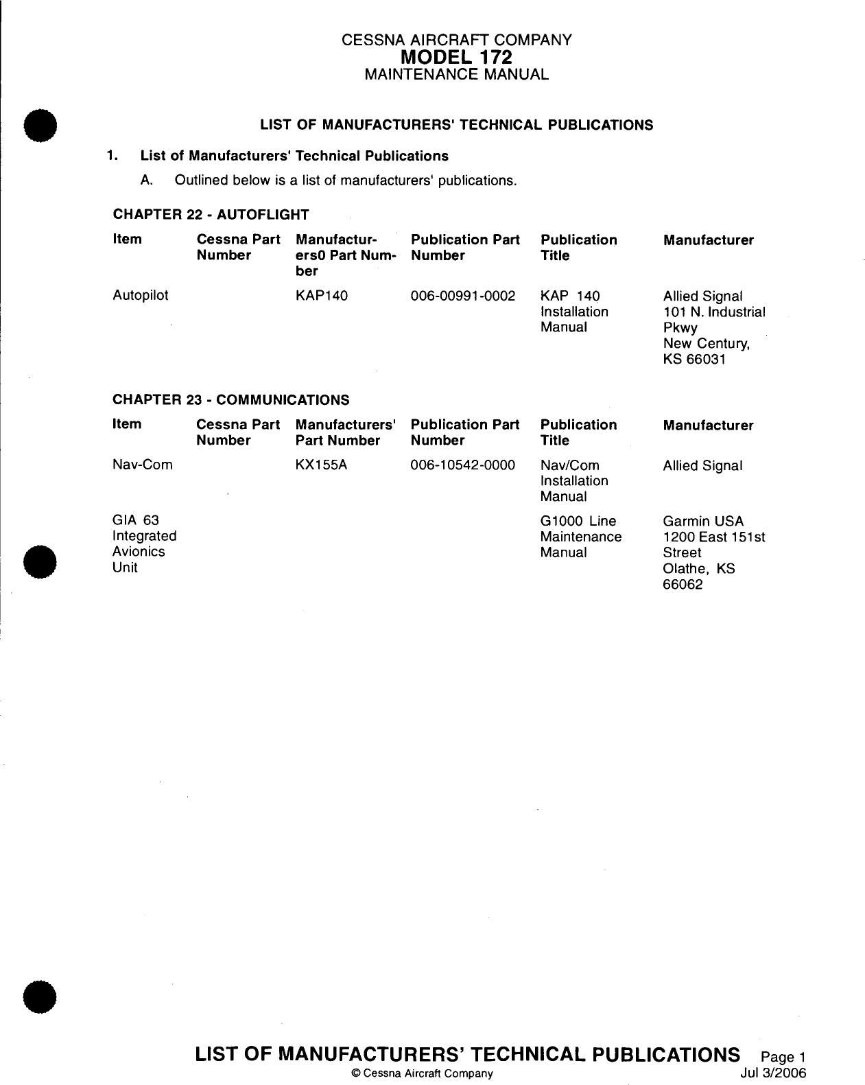 Cessna Maintenance Manual Subscription