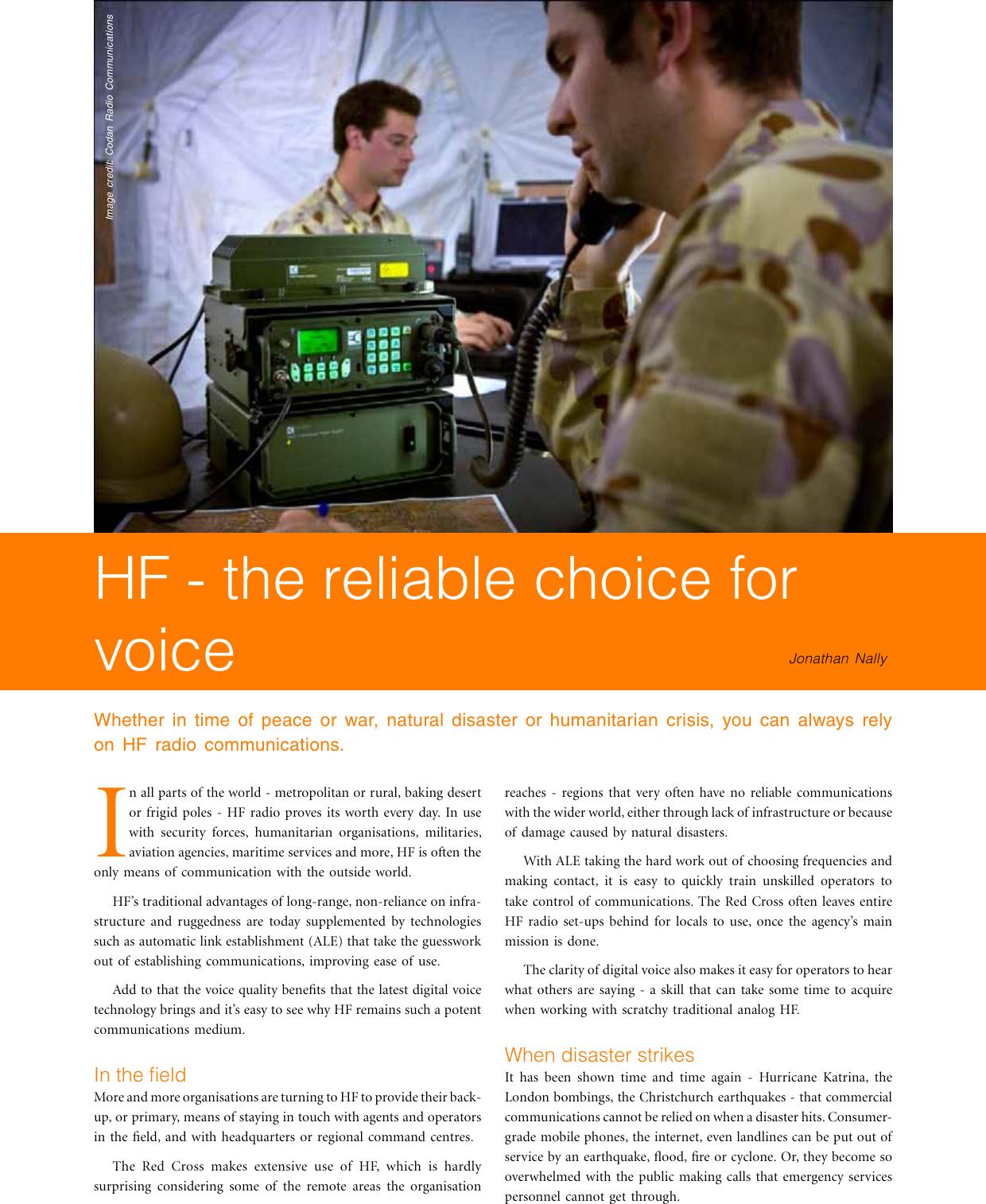 Long Range Digital Radio (LRDR) The Case For HF White Paper
