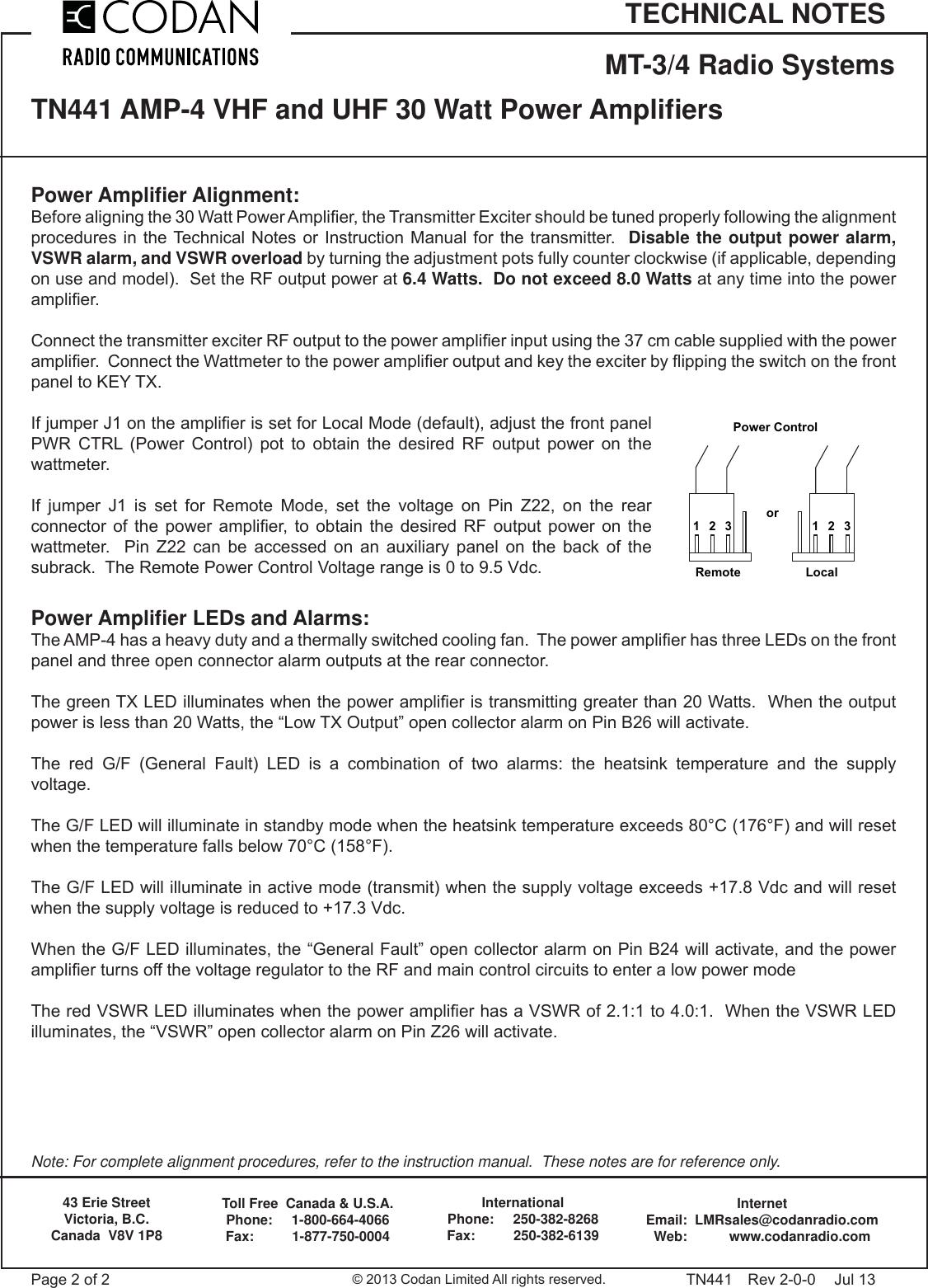 TN441 2 AMP 4 Power Amplifiers VHF And UHF 30 Watt Codan
