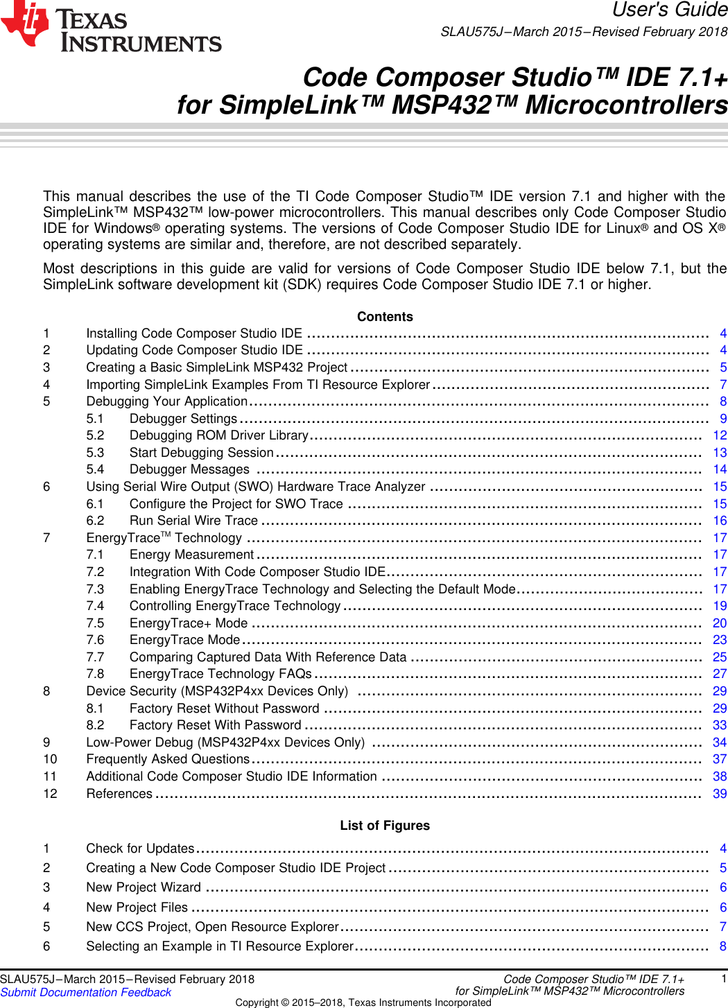 Code Composer Studio™ IDE 7 1+ For SimpleLink™ MSP432™ MCUs User's