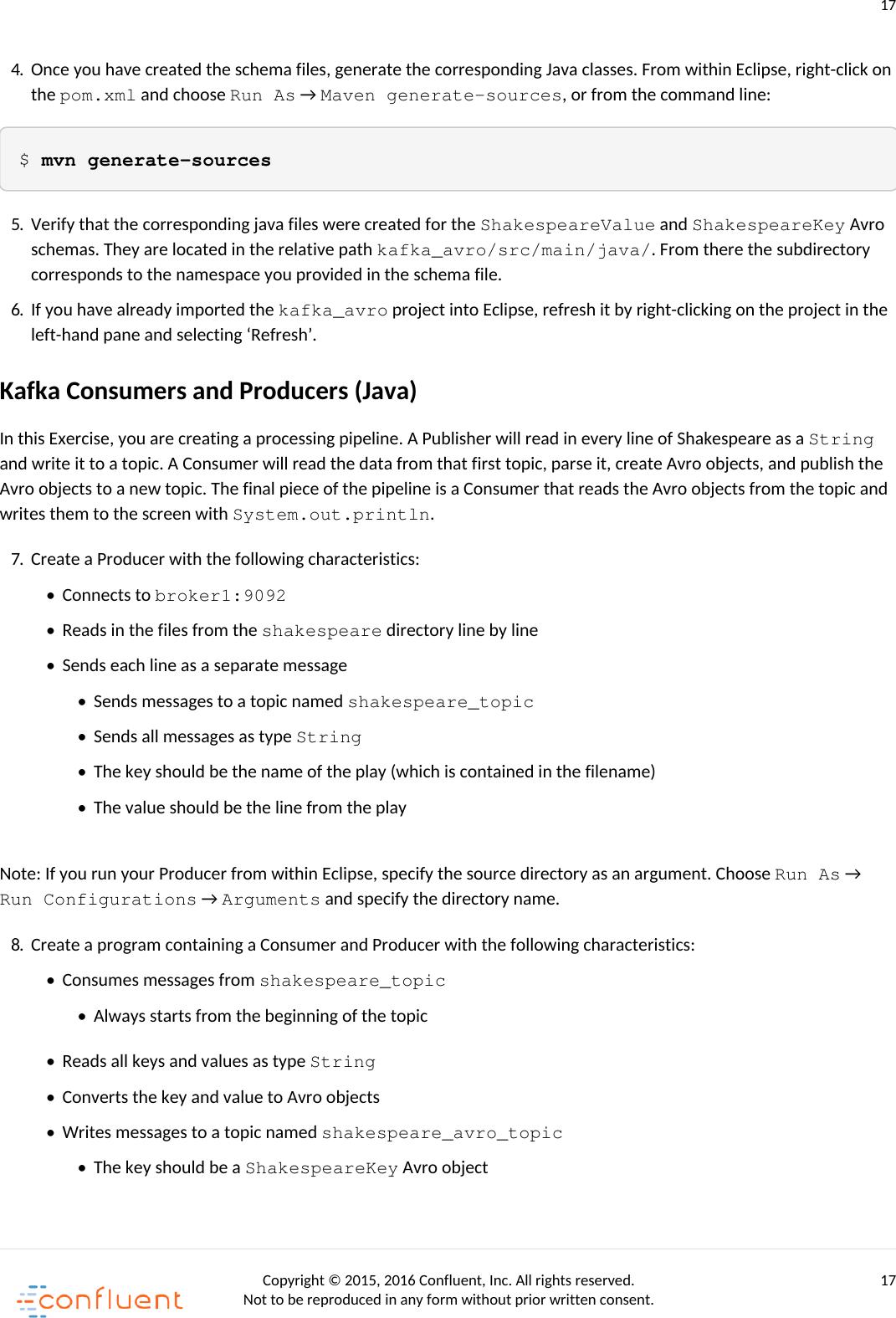 Confluent Developer Training Exercise Manual