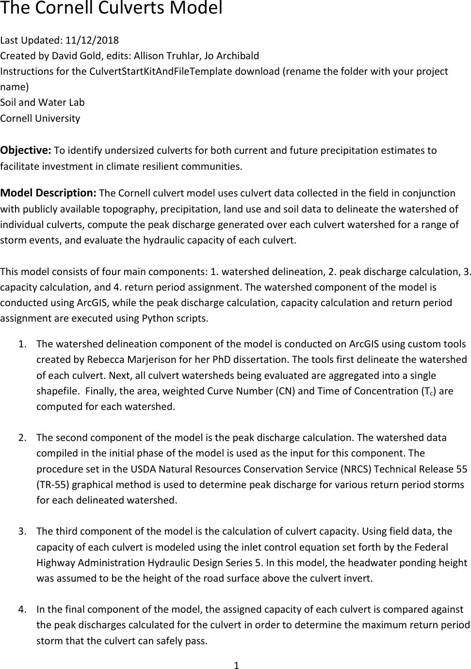 Cornell Culverts Instructions