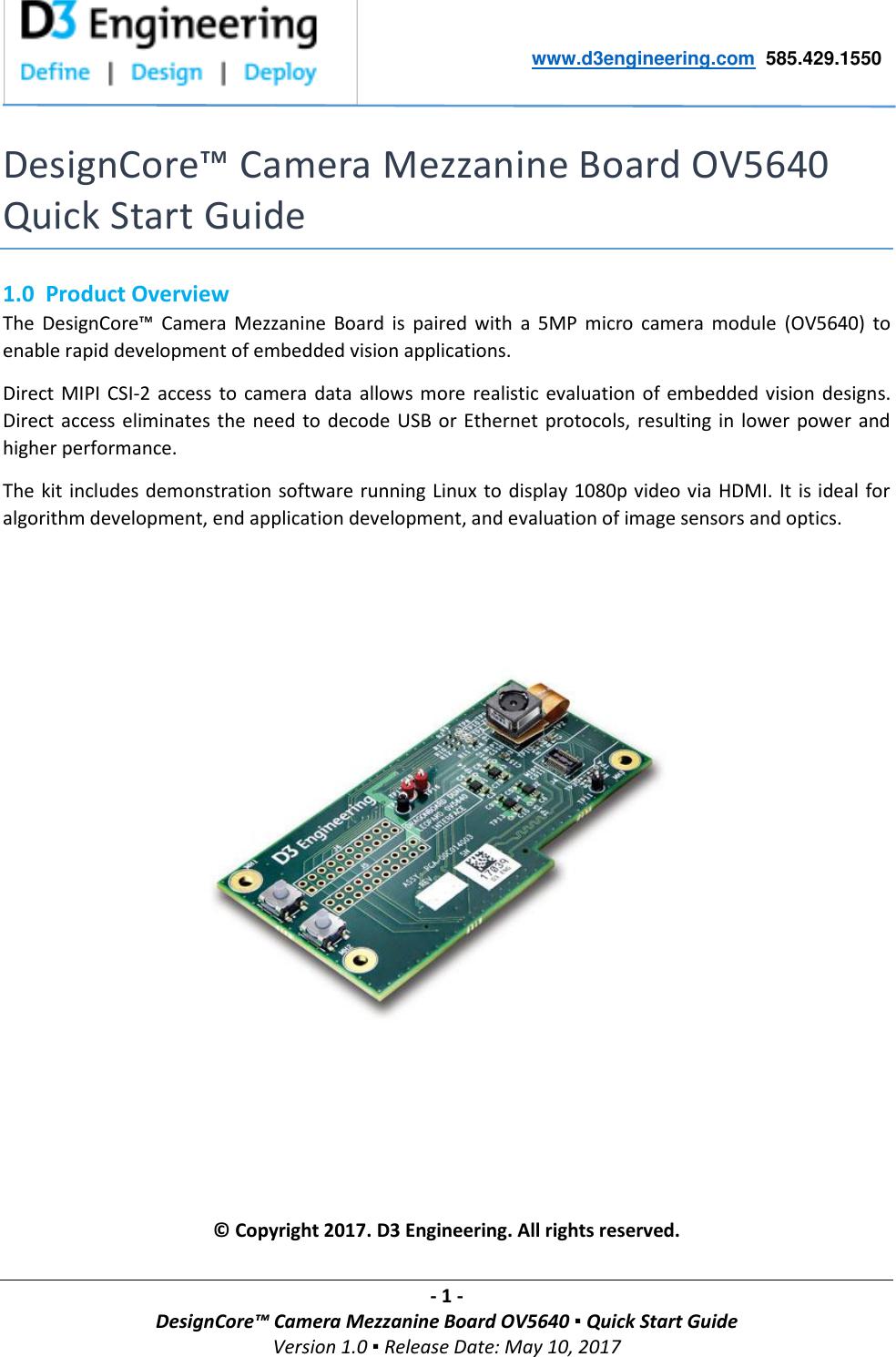 D3 Design Core Camera Mezzanine Board OV5640 Quick Start Guide V1