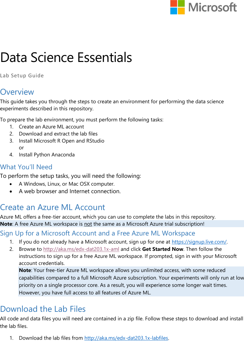 Microsoft Learning Experiences DAT203 1x Setup Guide