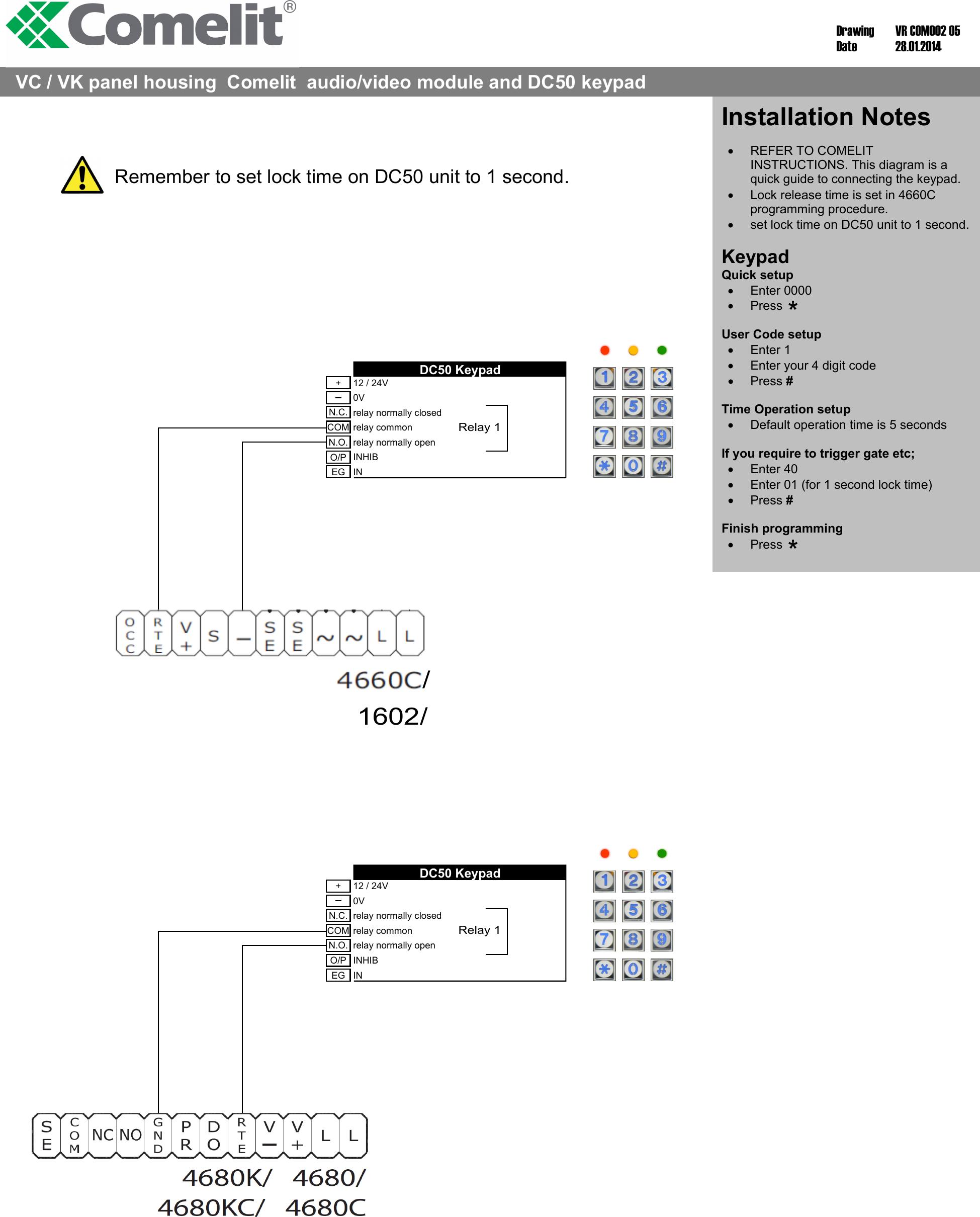 VR Comelit 05 COM002 Diagram DC50M Wiring on