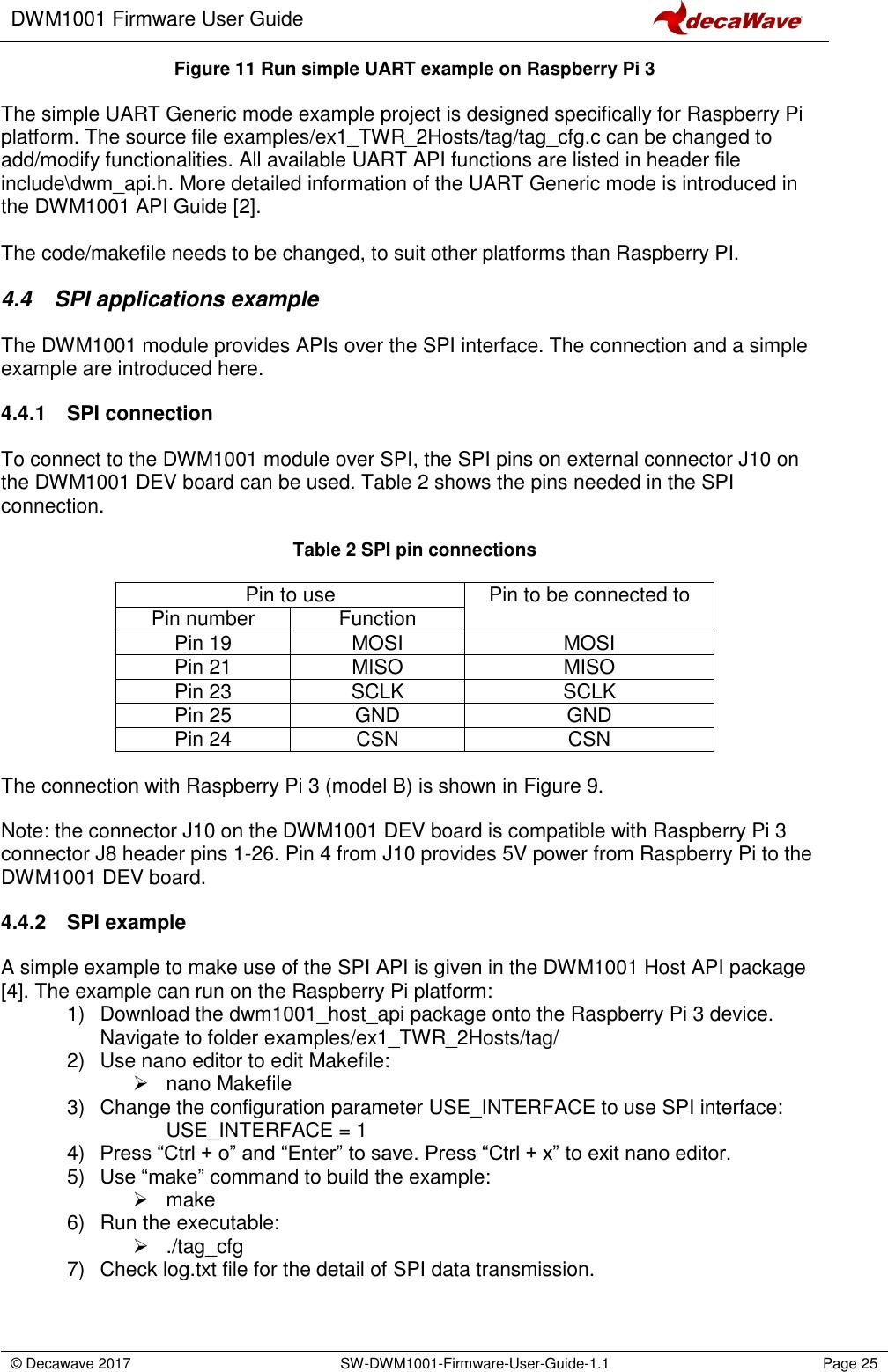 DWM1001 Firmware User Guide Ver11
