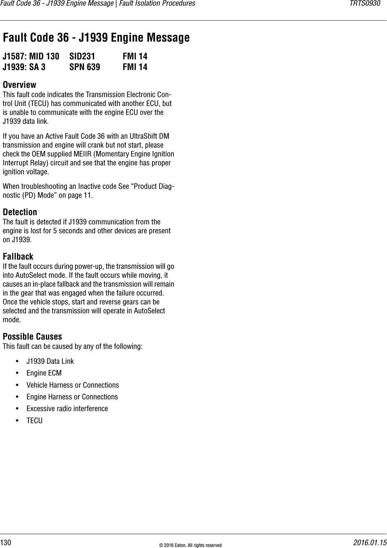 J1939 Fault Codes
