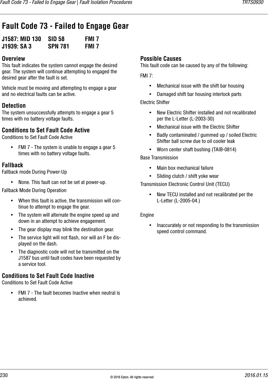 Trts0930 Eaton Gen 3 Autoshift Ultrashift Troubleshooting Guide