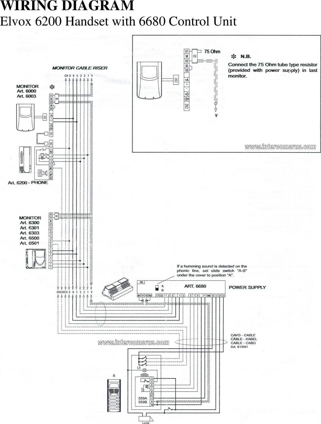 Elvox Intercom Wiring Diagram Apartment Gt 3 Wire Systems 6200 Handset Data Sheet Elvox6200 Page 6 Of