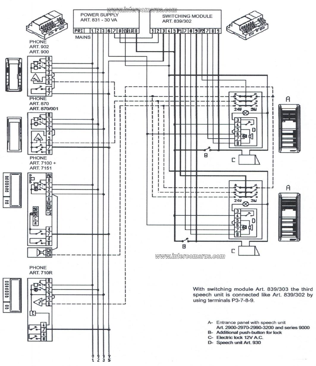 Elvox 8870 Intercom Handset Data Sheet Wiring Diagram For Case 930