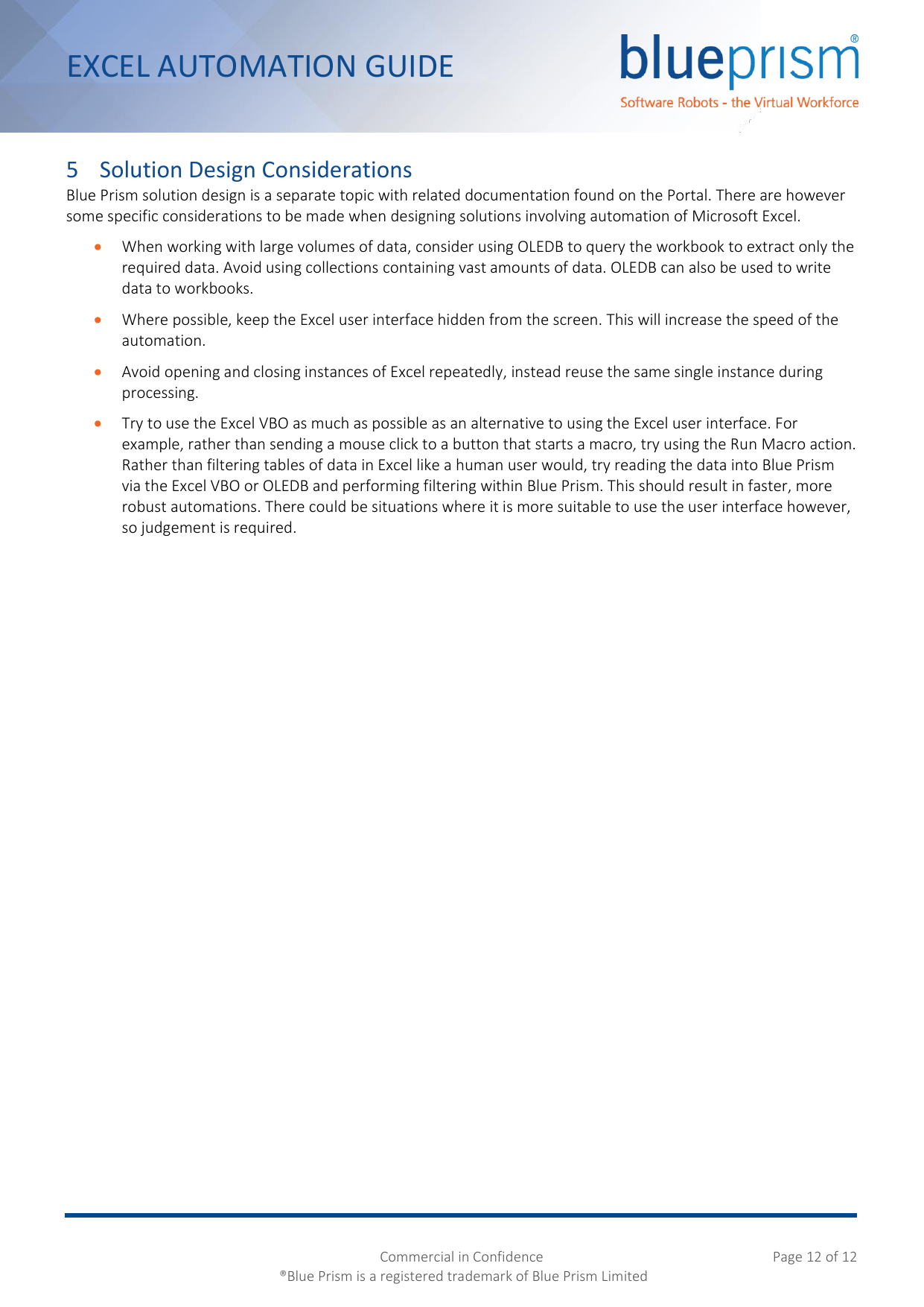 Page 12 of 12 - Blue Prism Excel Automation Guide