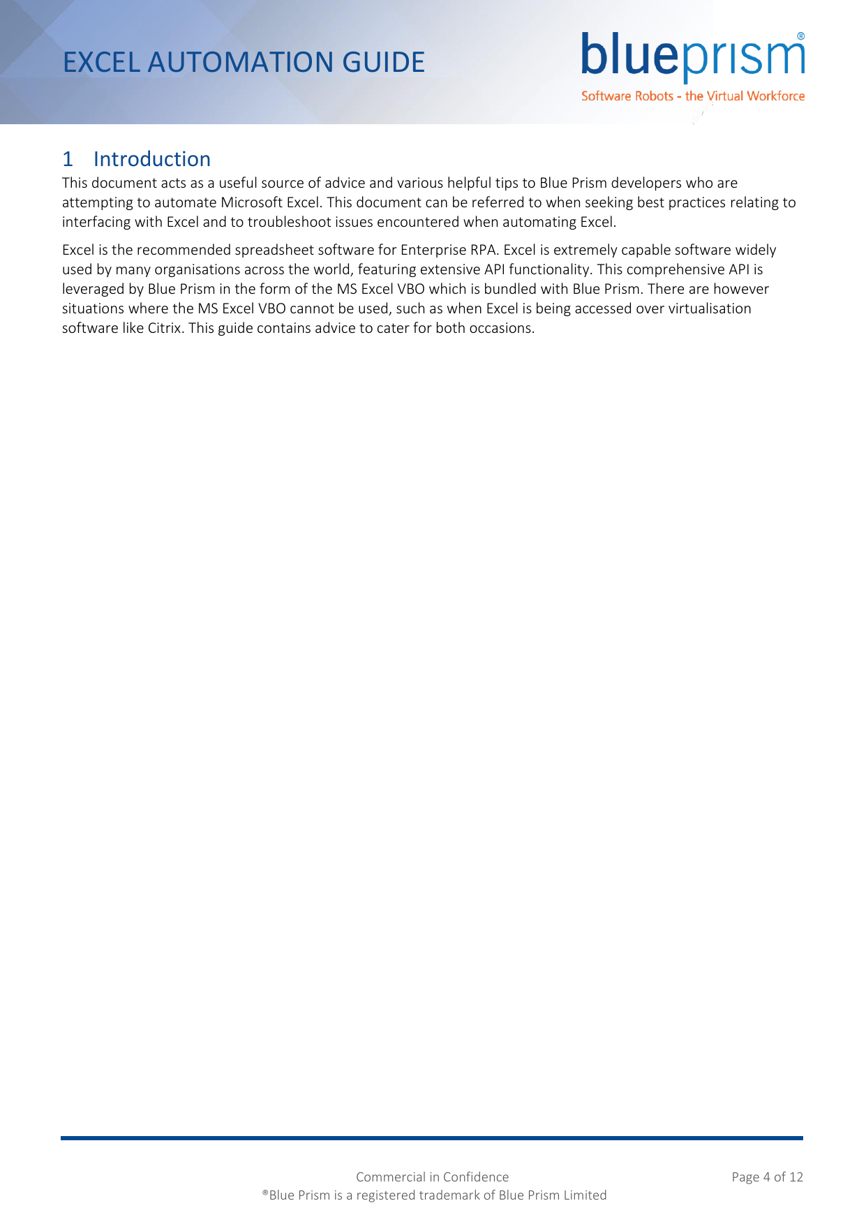 Page 4 of 12 - Blue Prism Excel Automation Guide