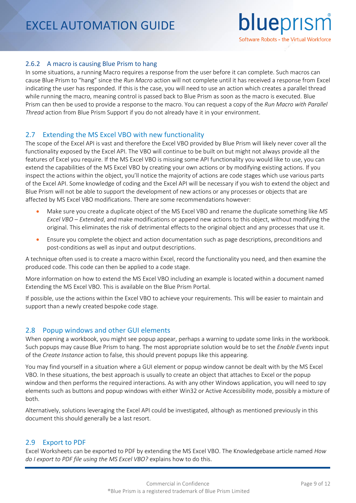 Page 9 of 12 - Blue Prism Excel Automation Guide