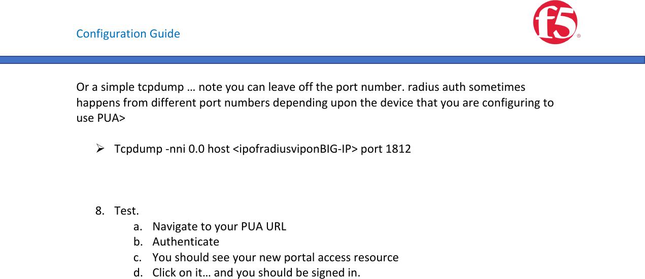 F5 PUA Configuration Guide V1