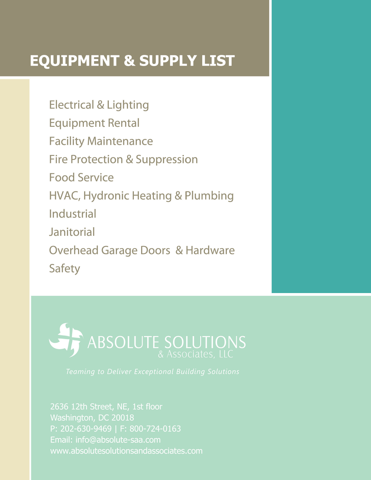 Safety Equipment !! FACILITY SUPPLIES