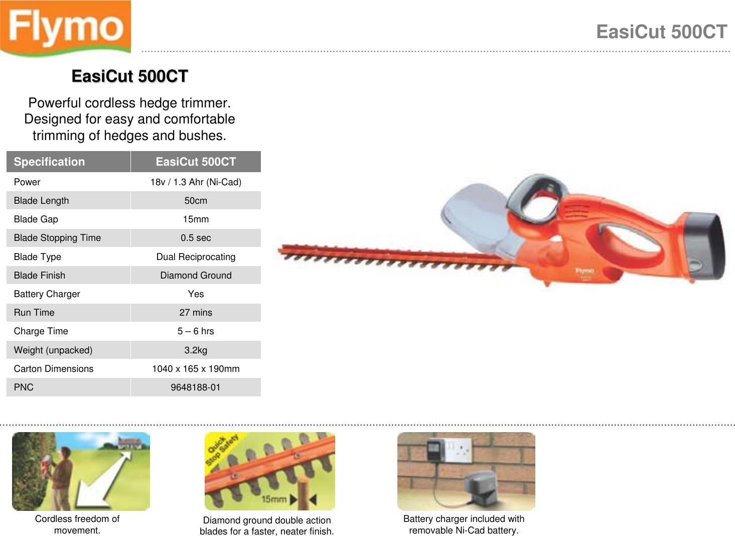 24 V Cutting Blade 50 cm Flymo EasiCut Cordless 500 Battery Hedge Trimmer