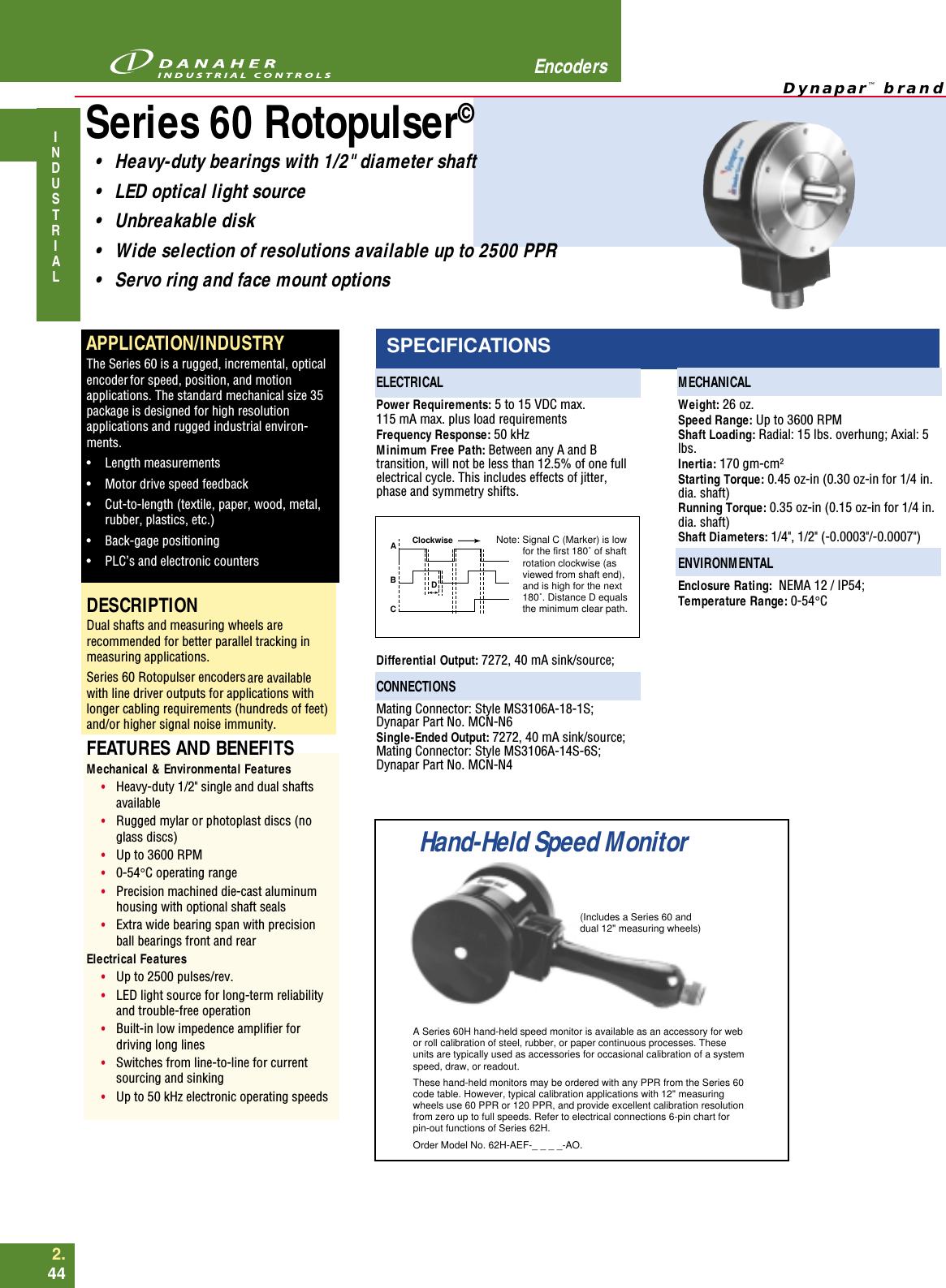 Measuring wheel 16002070010 12 inch x 0.5 Dynapar Unused