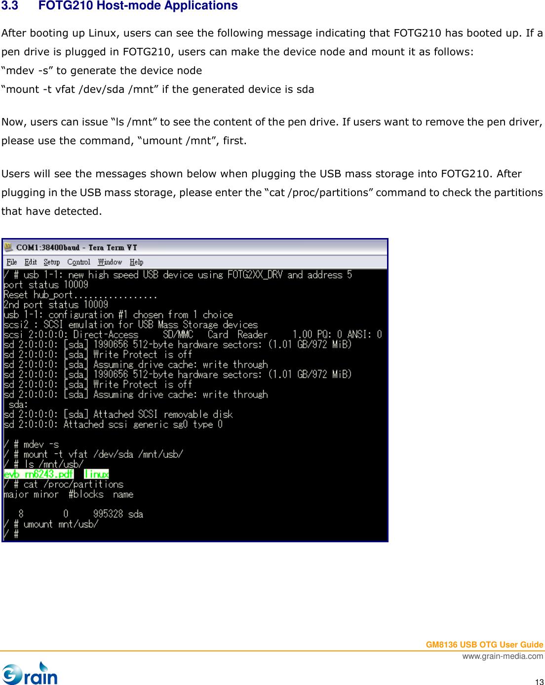 Description GM8136 USB OTG User Guide V1 1