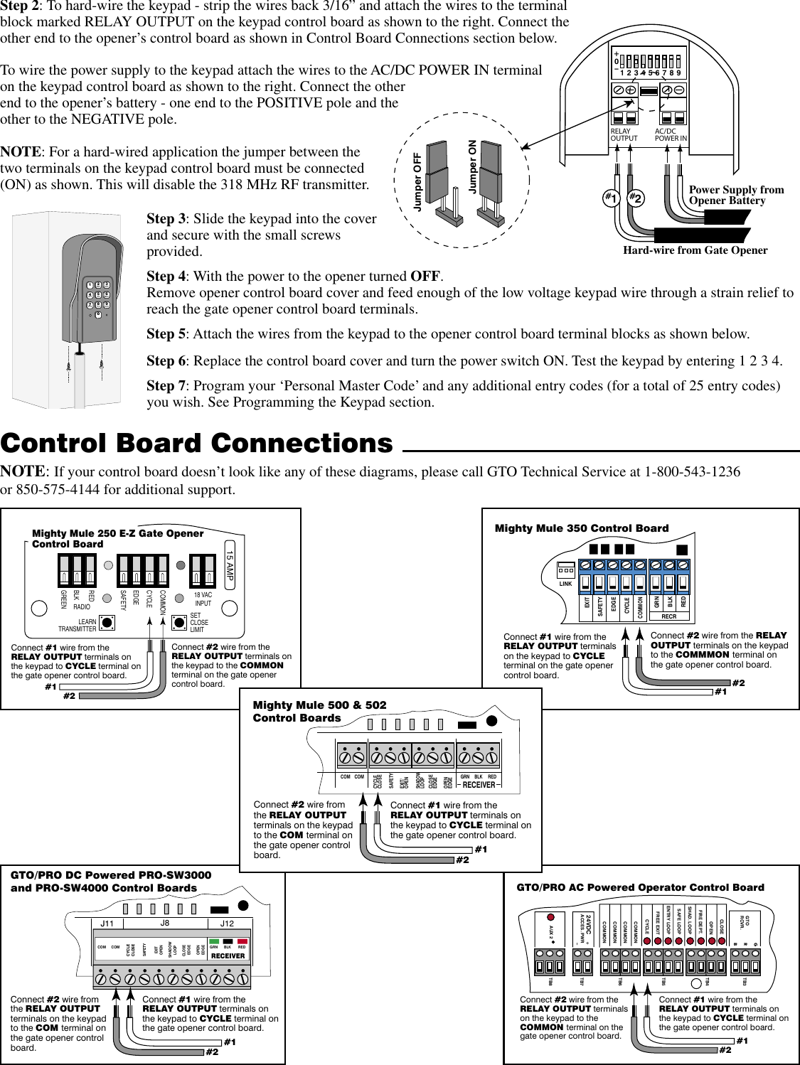 New Keypad Instrs 6 21 05 Gto Wireless Wire Gate Opener Manual Wiring Diagram Page 3 Of 5