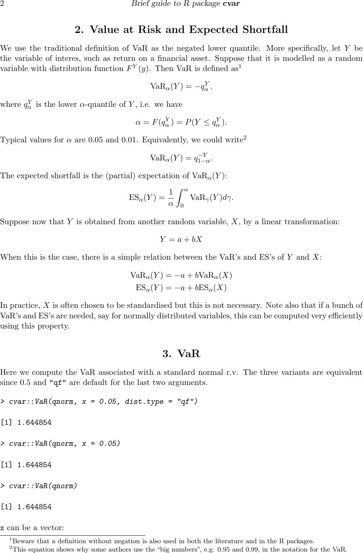 Brief Guide To R Package Cvar