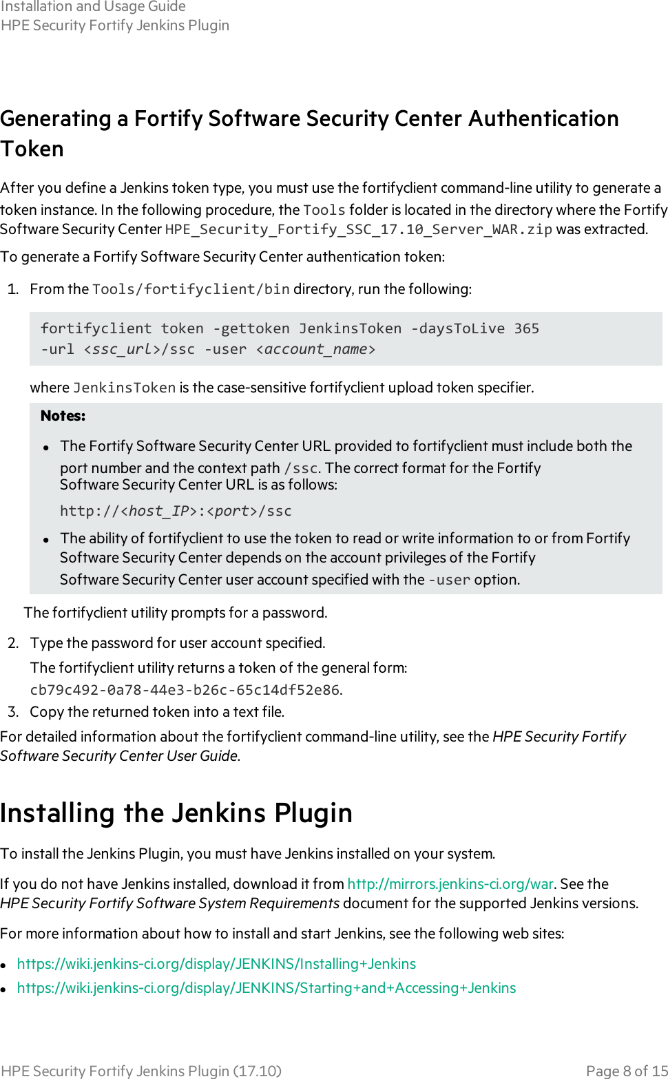 HPE Security Fortify Jenkins Plugin Installation And Usage Guide 17 10