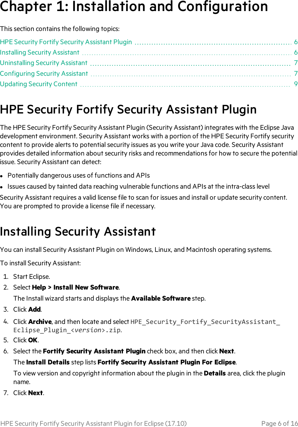 HPE Security Fortify Assistant Plugin For Eclipse User Guide