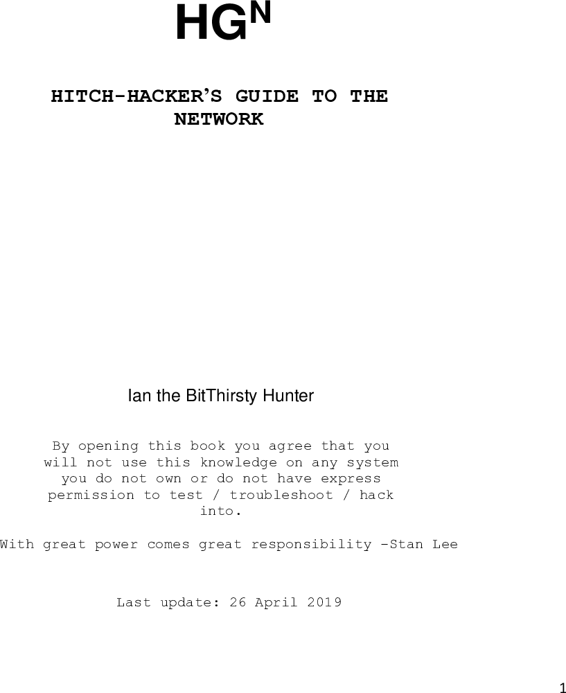 Hitch Hacker's Guide To The Network