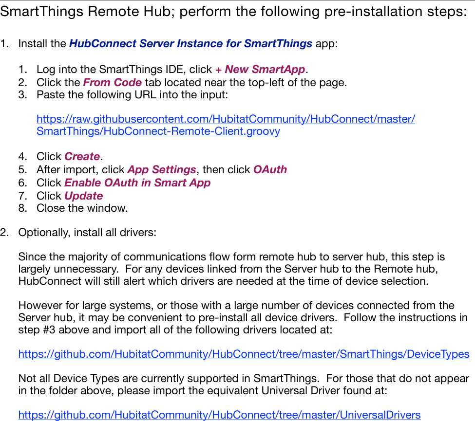 Hub Connect Installation Instructions