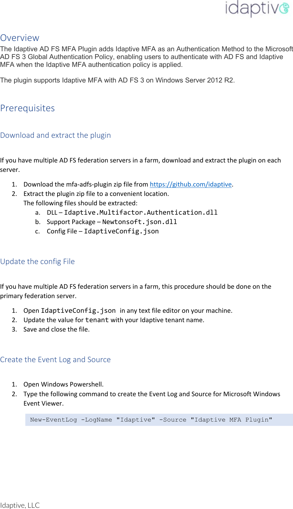 Idaptive MFA AD FS Plugin ADFS Manual