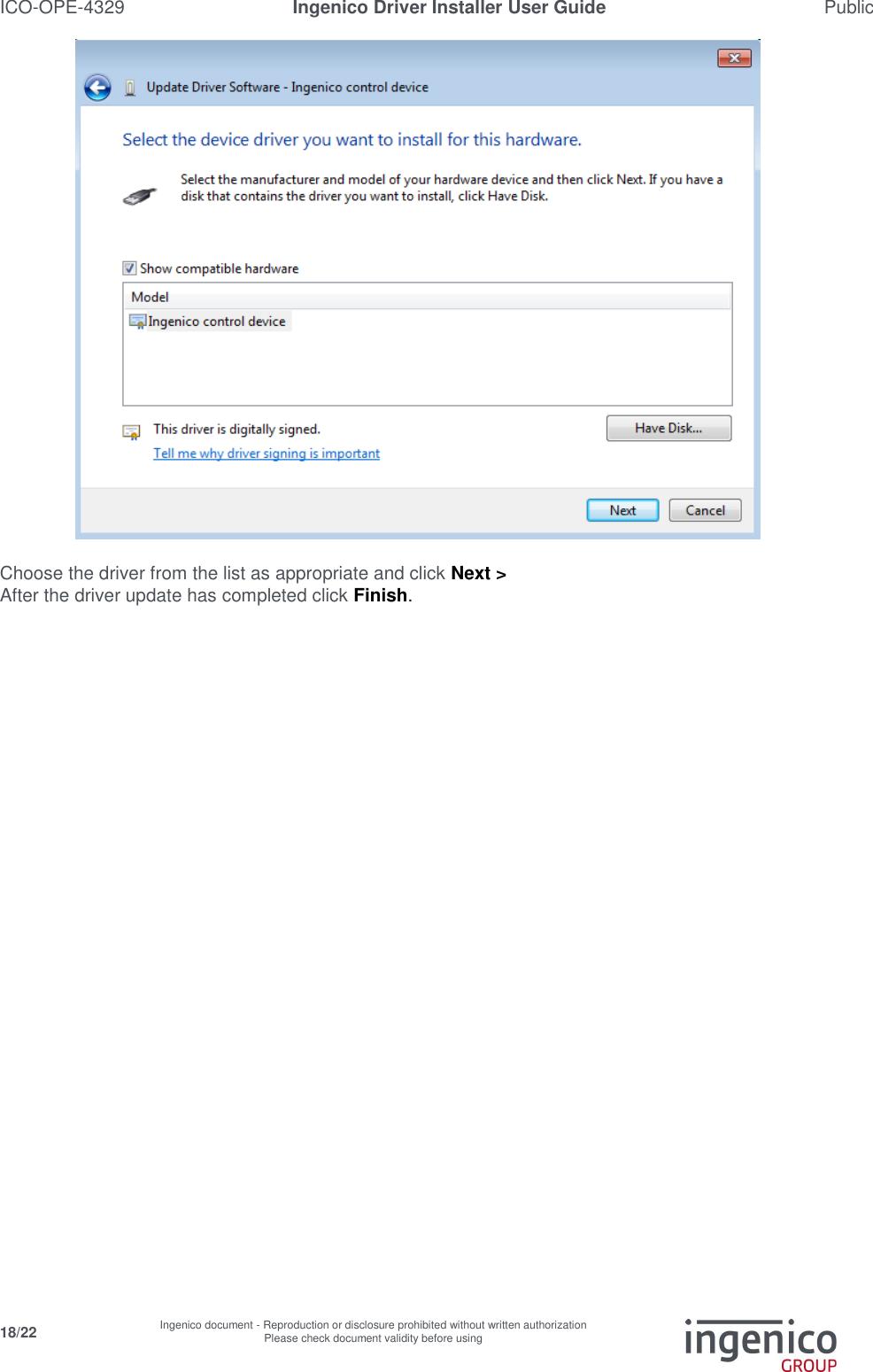 Report Ingenico Driver Installer User Guide