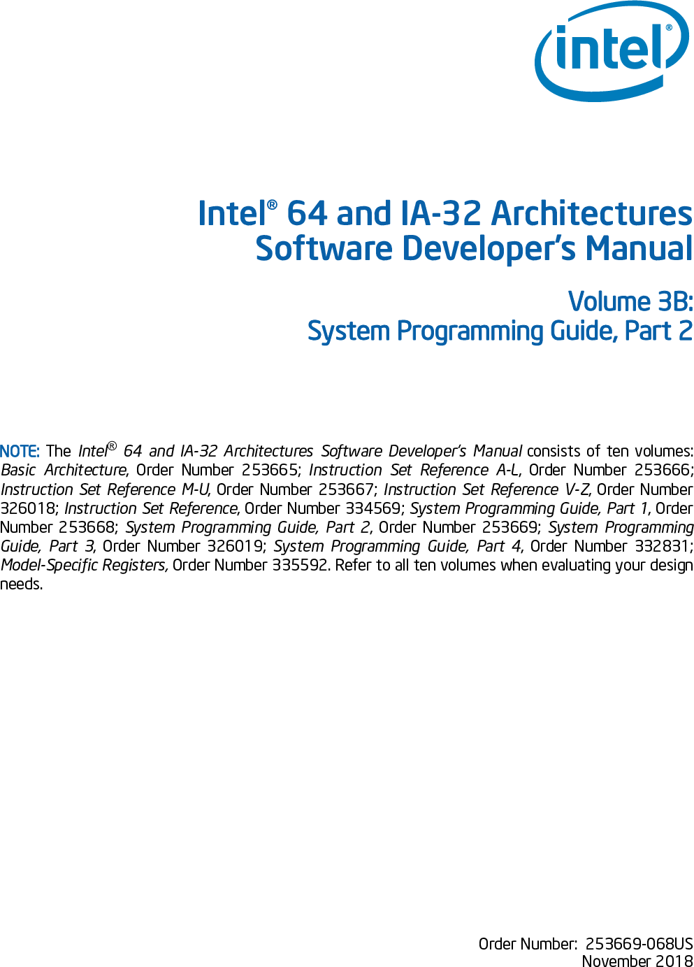 Intel® 64 And IA 32 Architectures Software Developer's