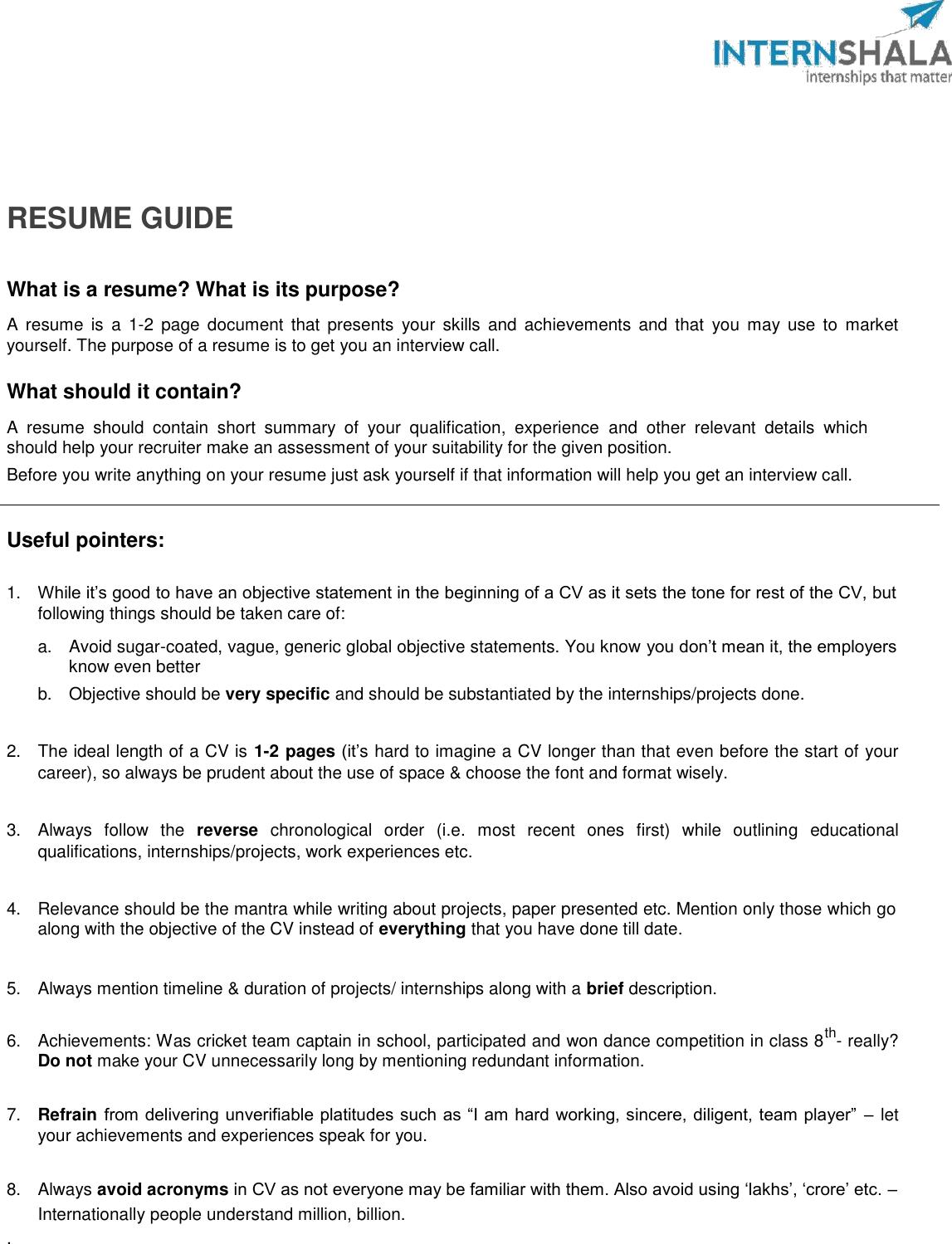 Internshala Resume Guide