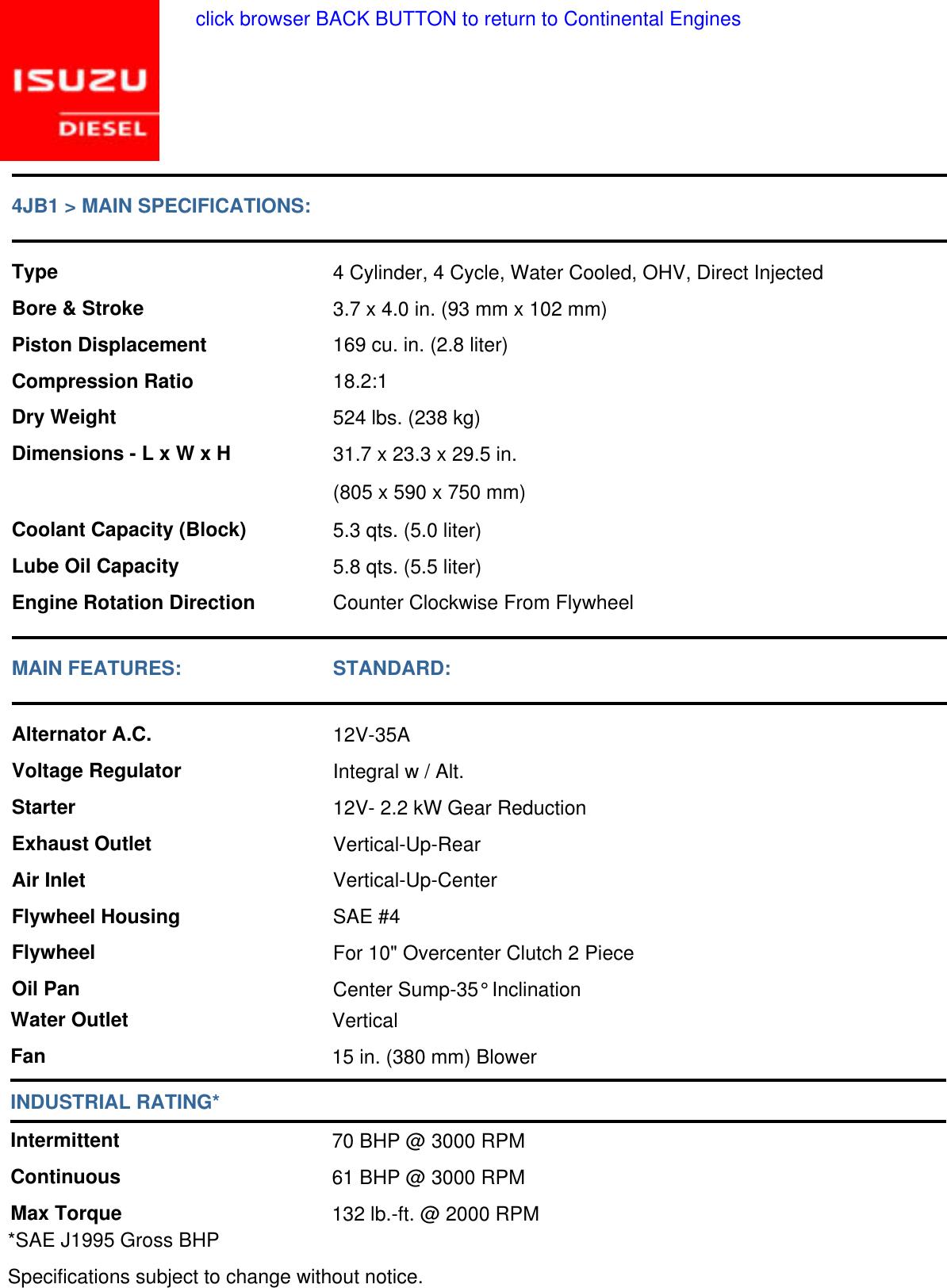 Isuzu 4JB1 Engine Specifications