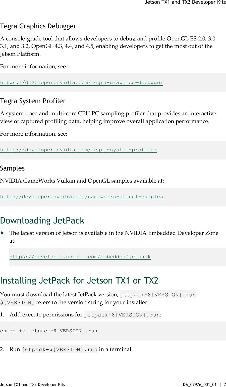 Jetson TX1 And TX2 Developer Kits User Guide