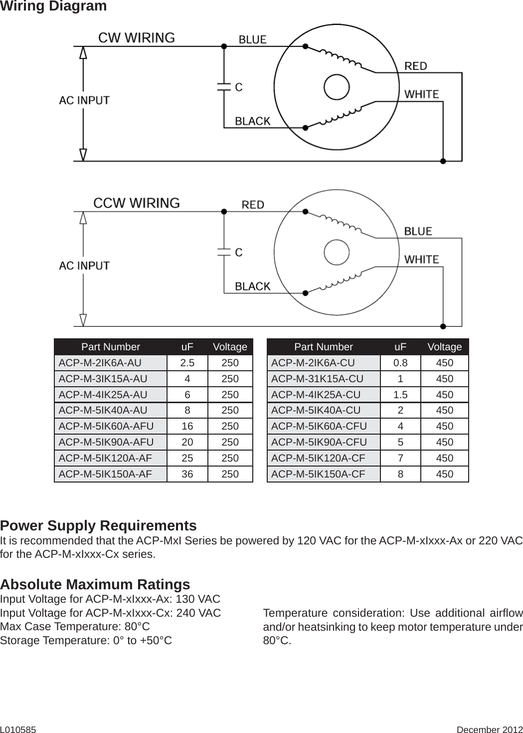 L010585 Acp Mxi Gear Motor Series Users Guide Mx I Wiring Diagram Page 3 Of 12