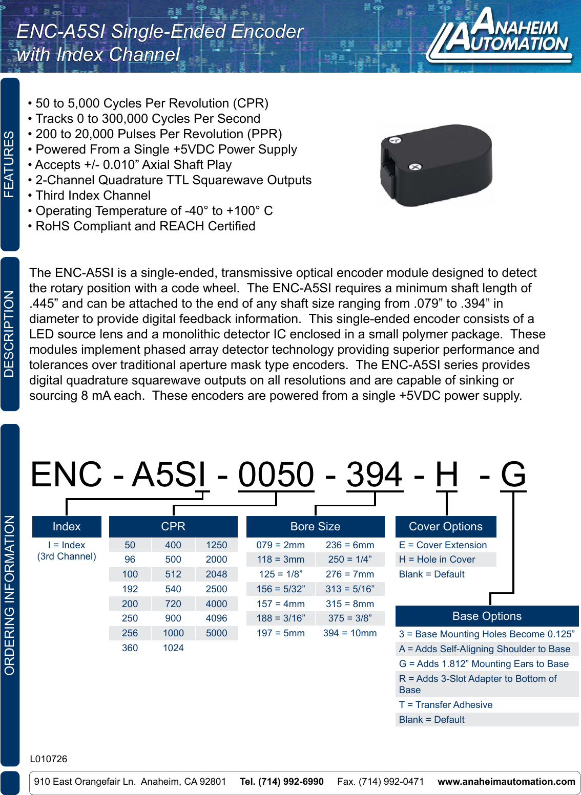 L010726 ENC A5SI Single Ended Encoder With