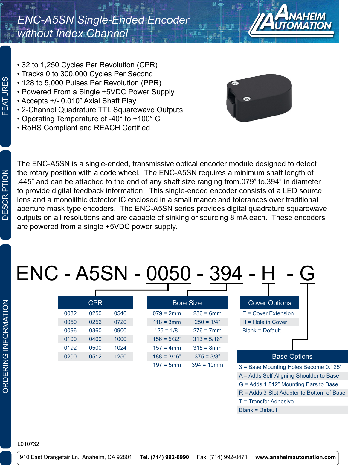 L010732 ENC A5SN Single Ended Encoder Without