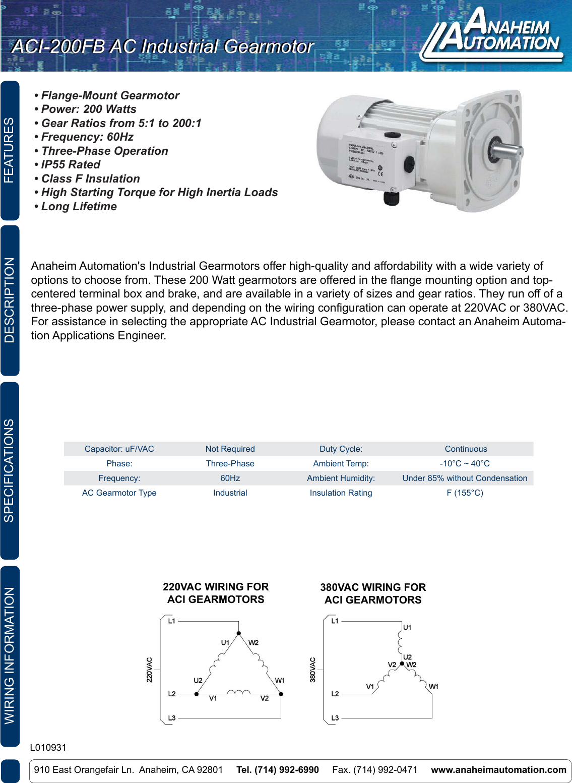 L010931 Aci 200fd Ac Industrial Gearmotor Spec Sheet 220 Vac Wiring