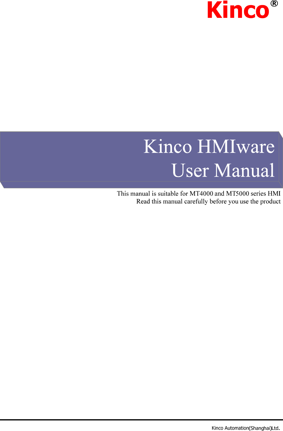 Kinco HMIware User Manual L011220