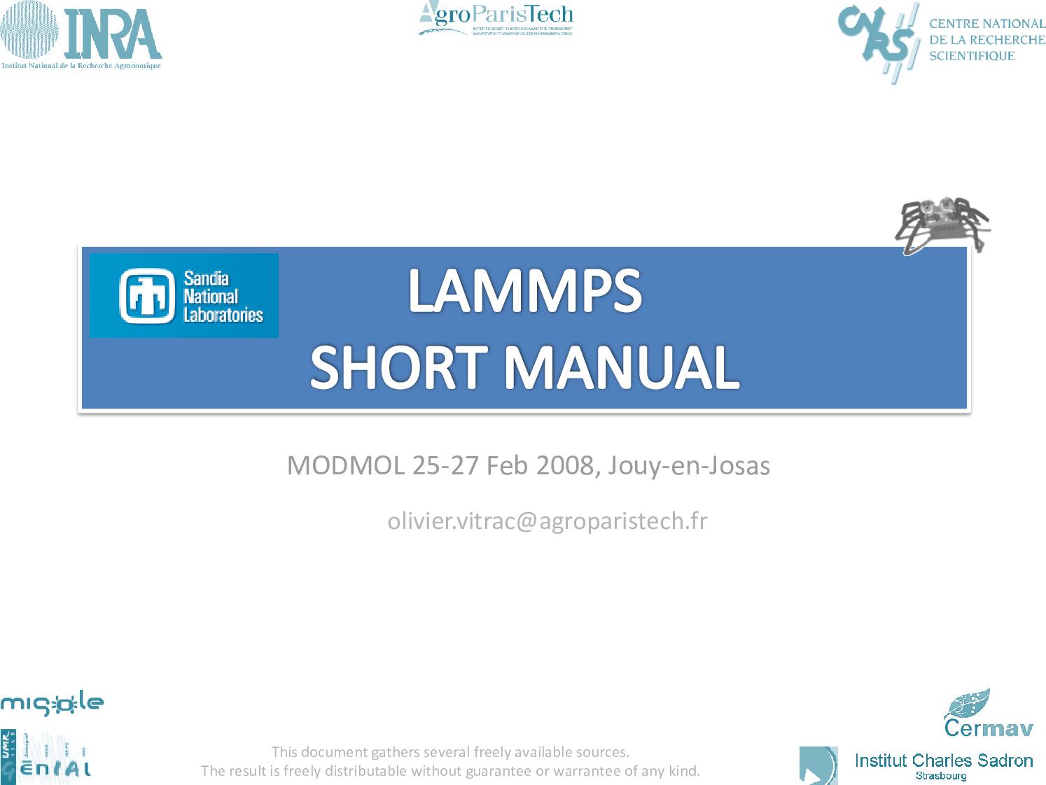 1 LAMMPS Short Manual