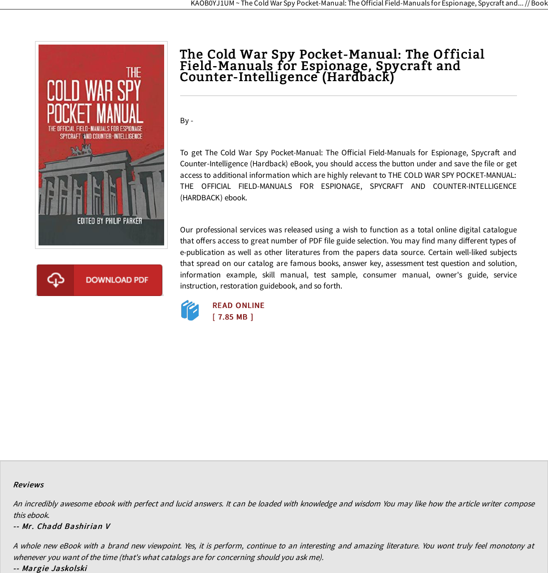 Read EBook The Cold War Spy Pocket Manual: Official Field Manuals