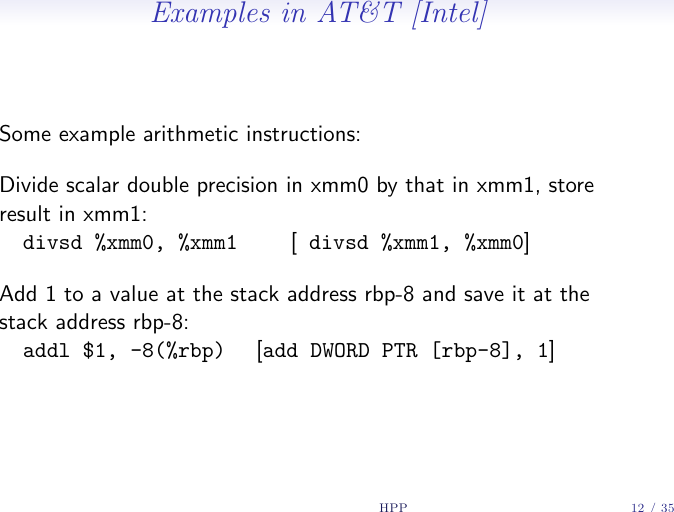 High Performance Programming, Lecture 4 10 Pt Optimization I