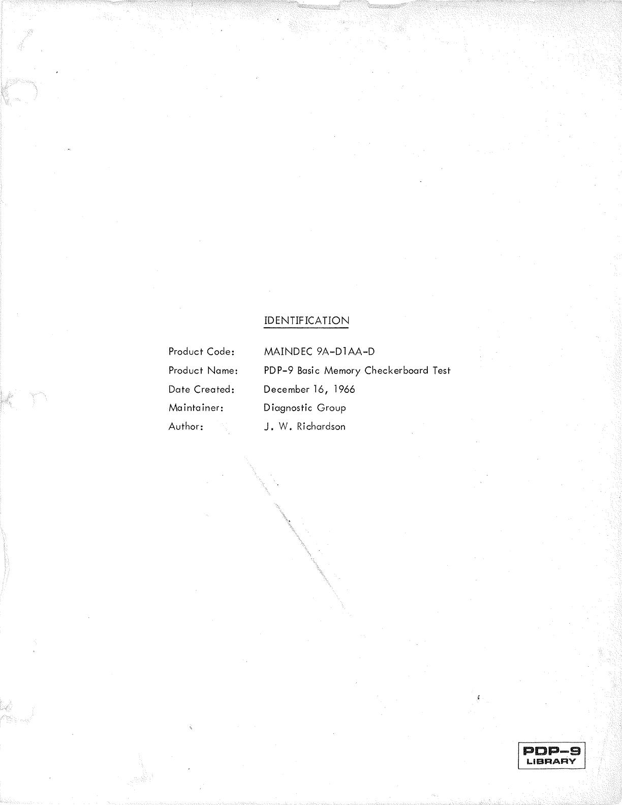 MAINDEC 9A D1AA D D_PDP 9_Basic_Memory_Checkerboard__Dec66