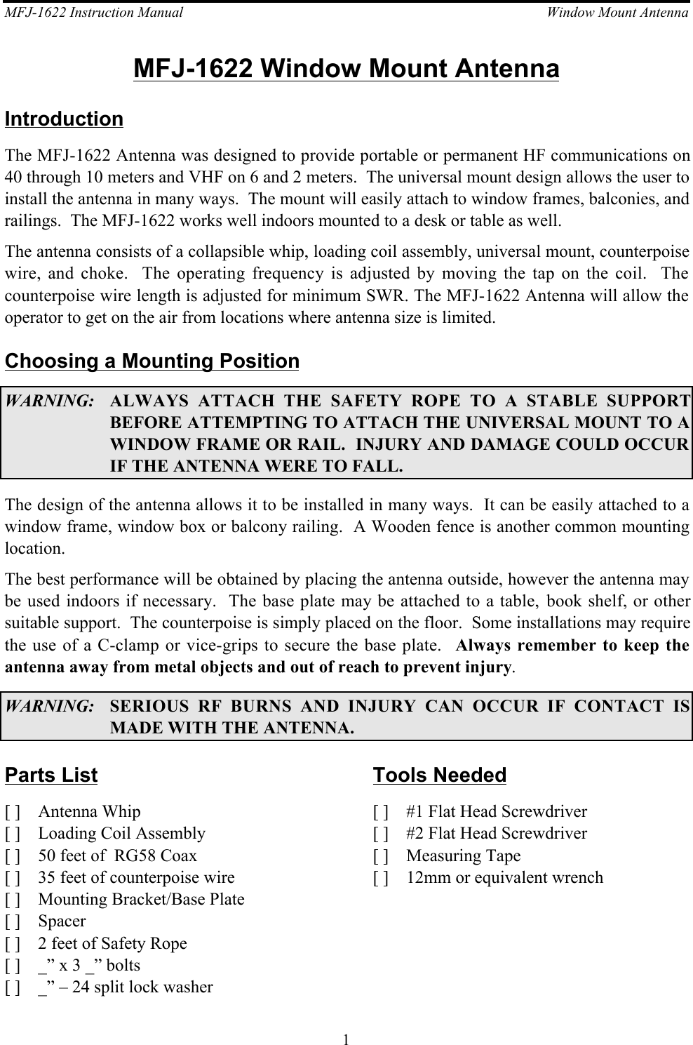Mfj 1622 Whip Antenna Operating At Medium Wave Frequency Mfj16221703149584 User Guide Page 1