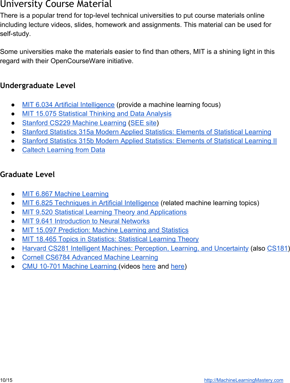 Machine Learning Resource Guide