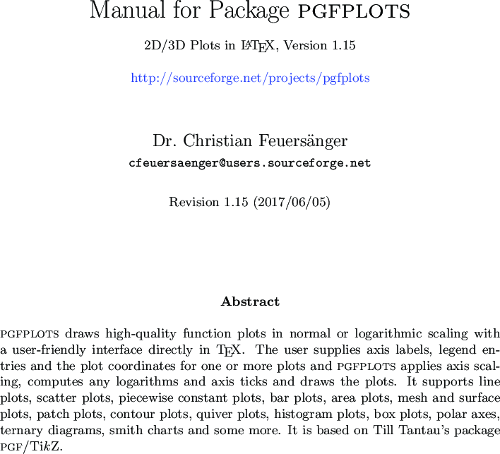 Package PGFPLOTS Manual For