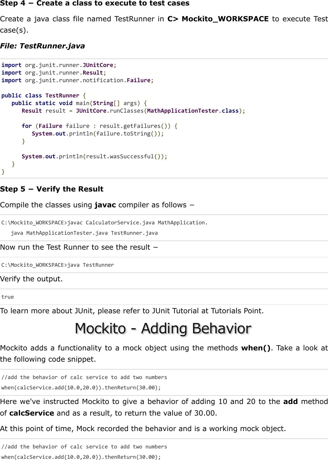 Mockito Quick Guide