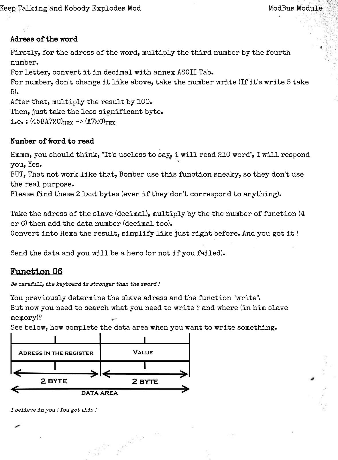 ModBus Module â•fl Keep Talking And Nobody Explodes Mod Bus Manual