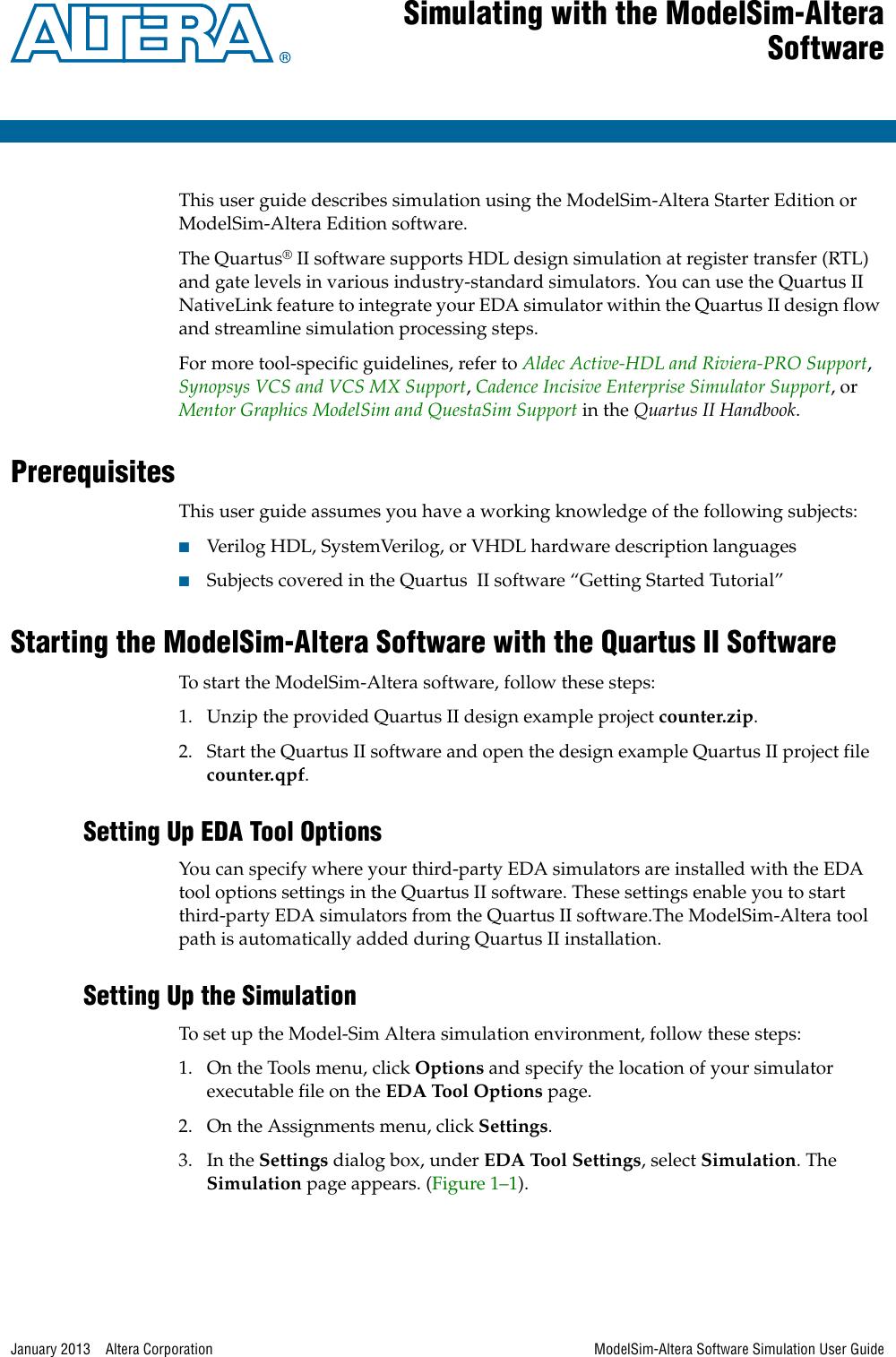 Sim Altera Software Simulation User Guide
