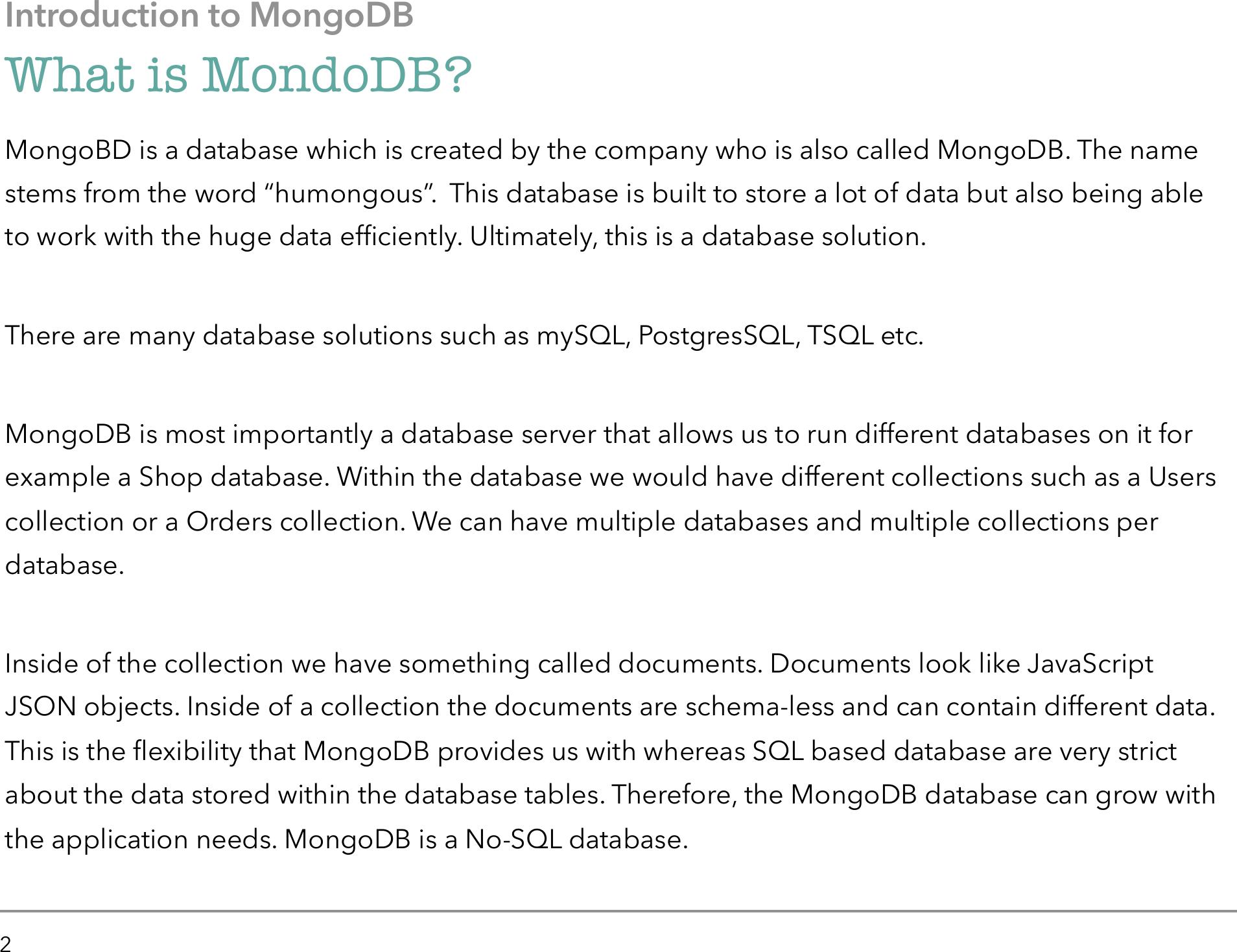 Modnog DB A Developers Guide
